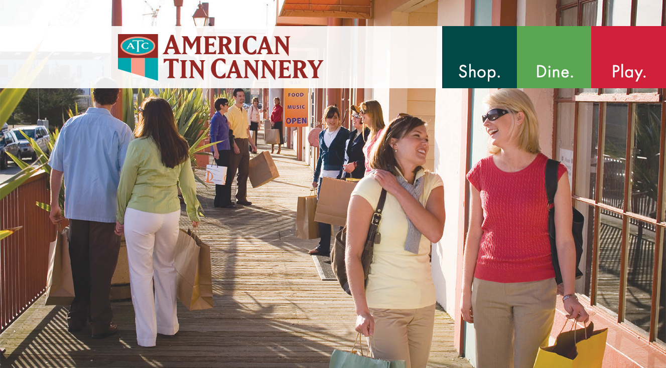 Shoppers outside the American Tin Cannery